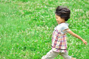 草原を走る少女の写真